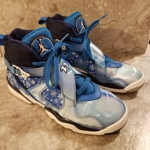 Air Jordan 8 Snowflake Cobalt Blaze Sz 7 Youth
